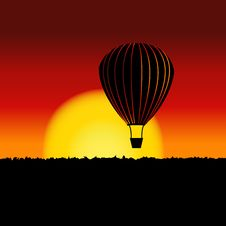 Free Sunset Landscape With Air Balloon Silhouette. Royalty Free Stock Images - 33765359
