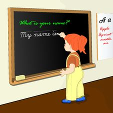 Free Litle Girl At The Blackboard Royalty Free Stock Photo - 33767235