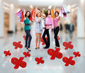 Free Happy Women With Shopping Bags At Store Stock Image - 33774671