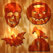 Free Halloween Signes On Wood Texture Stock Photography - 33783342