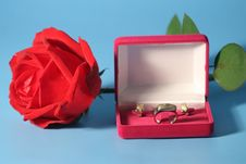 Free Red Rose Andgold Jewelry Stock Photo - 3380420