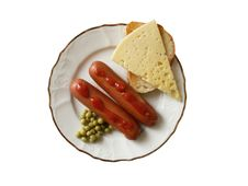Free Breakfast With Sausages Royalty Free Stock Photography - 3381427