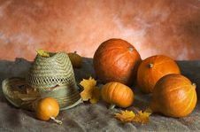 Pumpkins And Sombrero Royalty Free Stock Images