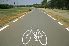 Free Cyclelane Sign On Tarmac Stock Image - 3383311