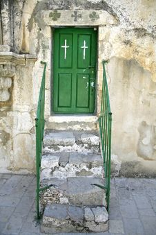 Free Monestrary Green Door Stock Photography - 3383762
