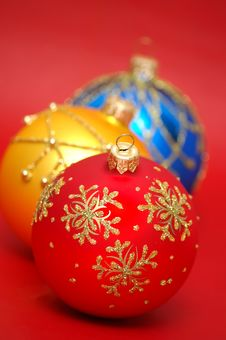 Free Three Colorful Christmas Balls Stock Photo - 3386960