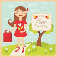 Free Birthday Card With Girl Royalty Free Stock Images - 33809809