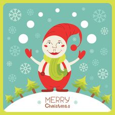Free Cute Christmas Card With Snowman Stock Photos - 33809903