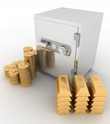 Closed Safe With Dollars And   Bullions Stock Photography