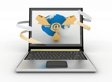 Free E-Mail Concept With Globe And Arrows On The Screen Of Laptop Stock Photo - 33812260