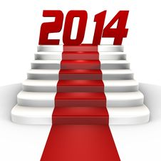 Free New Year 2014 On A Red Carpet - A 3d Image Royalty Free Stock Photo - 33813095
