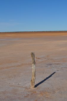 Old Fence Post On A Salt Lake Royalty Free Stock Photo