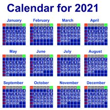 Free Calendar For 2021 Year. Stock Images - 33813894