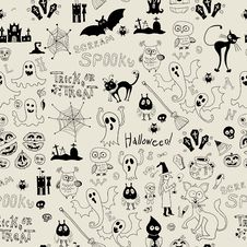Free Halloween Seamless Pattern With Icons Stock Photo - 33824610