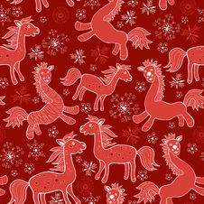 Free Seamless With Christmas Red Drawing Horses Stock Photography - 33826282