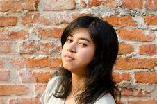 Free Pretentious Girl Over Brick Wall Stock Photo - 33828910