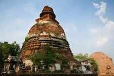 Big Pagoda At Wat Maheyong, Ancient Temple In Ayutthaya, Thailan Royalty Free Stock Photo