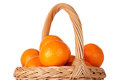 Free Basket Of Fresh Oranges, Mandarines Or Tangerines  On Wh Royalty Free Stock Photo - 33831215