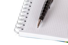 Stationery Set. Blank Notebook And Pen Isolated On White Backgro Royalty Free Stock Image
