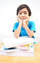 Free Little Boy Studying Text Books Stock Photo - 33844130