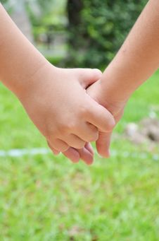 Little Sibling Hand Holding Royalty Free Stock Images