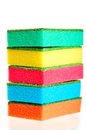 Free Tower Of Colorful Sponges For Ware On A White Royalty Free Stock Photo - 33851845