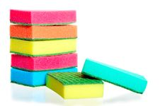 Stack Of Sponges For Washing Dishes Royalty Free Stock Image