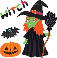 Free Halloween Witch Character With Pumpkin And Bat. Royalty Free Stock Image - 33853276