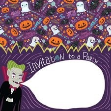 Free Happy Halloween Invitation With Dracula. Royalty Free Stock Photos - 33853288