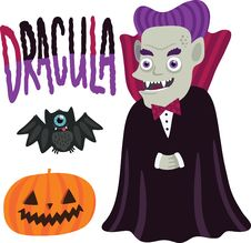 Halloween Dracula Character With Pumpkin And Bat.