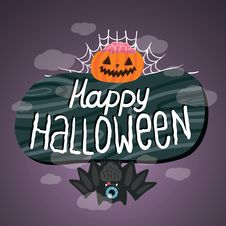 Free Happy Halloween Sign With Pumpkin, Bat, Web. Stock Photography - 33853322