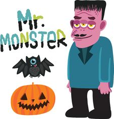 Free Halloween Monster Character With Pumpkin And Bat. Stock Images - 33853324