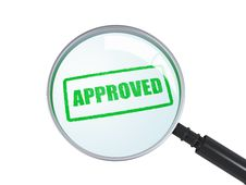 Free Magnifier With Approved Stamp Royalty Free Stock Photo - 33855435