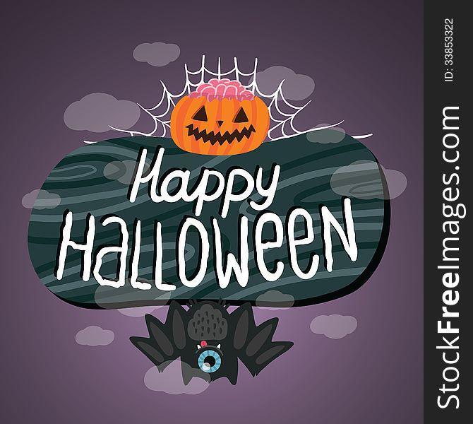 Happy Halloween sign with pumpkin, bat, web.
