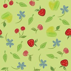 Seamless Background With Fruits And Berries Royalty Free Stock Photography