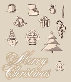 Free Merrycristmas Emblems Royalty Free Stock Image - 33882616
