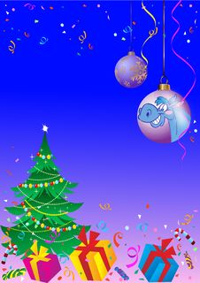 Background With A Christmas Tree And Balls Stock Photo