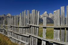 Rustic Fence In The Tetons Royalty Free Stock Photography