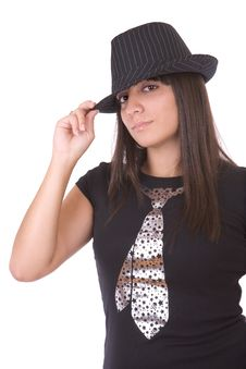 Free Beautiful Girl Posing With Hat Stock Images - 3399744
