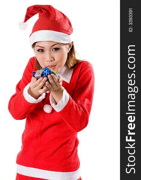 Cute santa blowing tiny gifts