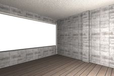 Free Bare Concrete Wall And Wood Floor Royalty Free Stock Photos - 33900858