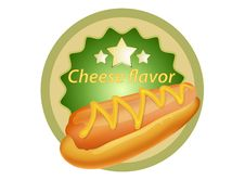 Free Hot Dog With Cheese Label Royalty Free Stock Images - 33902499