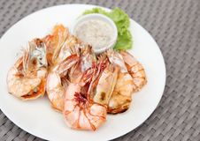 Free Grilled Shrimps With Seafood Sauce Stock Photo - 33908480