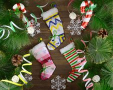 Free Christmas Socking With Decor Royalty Free Stock Photography - 33910427