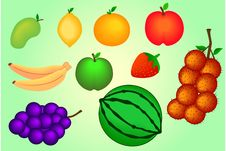 Free Set Of Fruits Royalty Free Stock Photography - 33914307