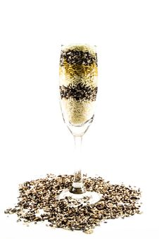 Free Colored Grain In A Glass Of Champagne Isolated Royalty Free Stock Photography - 33919507