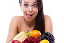 Free Funny Young Woman Is Crazy About Fresh Fruits Royalty Free Stock Photos - 33928478