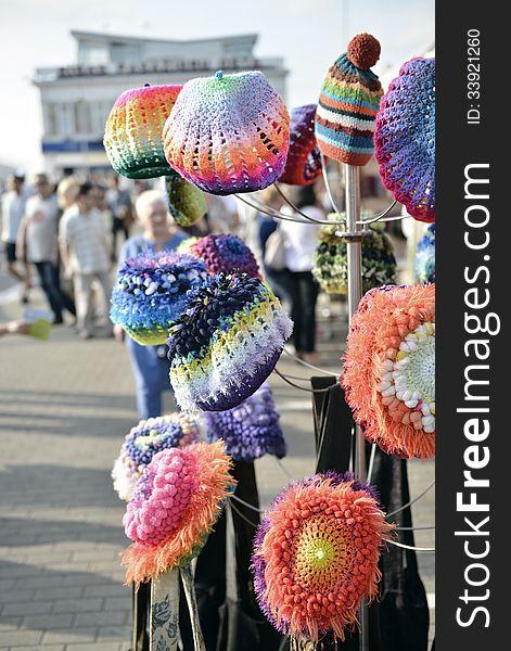 Sale of multi-colored hats