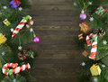 Free Christmas Background With Conifer And Decorations Royalty Free Stock Images - 33933729