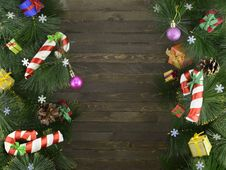 Christmas Background With Conifer And Decorations Royalty Free Stock Images